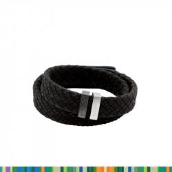 Bracelet Tressé Noir Plaqué
